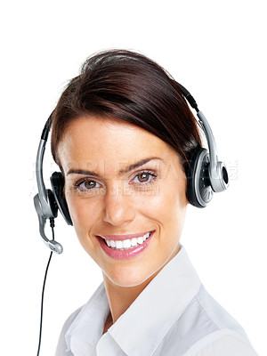 Buy stock photo Closeup portrait of a young female customer service agent with headset isolated over white background