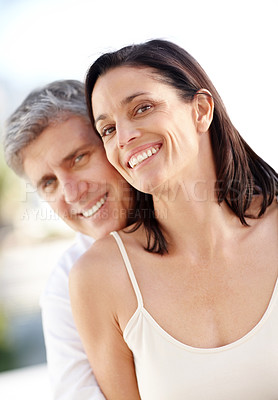 Buy stock photo Portrait of happy mature man hanving fun together