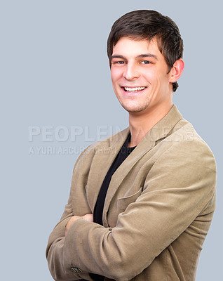 Buy stock photo Portrait of a casual handsome business man, laughing.
