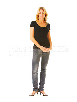 Buy stock photo Full-body portrait of a beautiful young blonde model, taken in our studio.