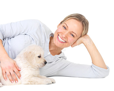 Buy stock photo Cute puppies and young female model - A pretty young girl with her cute puppy on isolated white.