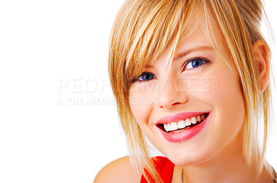 Buy stock photo Isolated close-up portrait of a beautiful teenager. This isolate is taken in our studio