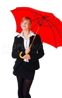 Buy stock photo Isolated portrait of a beautiful business woman holding a red umbrella. Concept of support, protection, insurance. Isolate