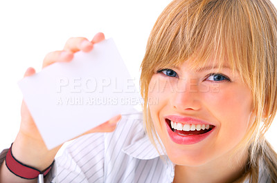 Buy stock photo Business card or white sign - Portrait of a beautiful businesswoman holding a blank notecard.