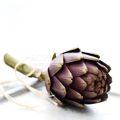 Buy stock photo Portrait of an artichoke done in a simple and minimalistic fashion