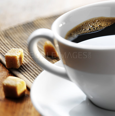 Buy stock photo Close-up of a wonderful cup of hot coffee and biscotti