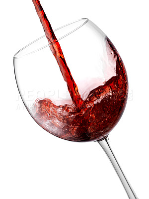 Buy stock photo Red wine in a glass isolated on white.