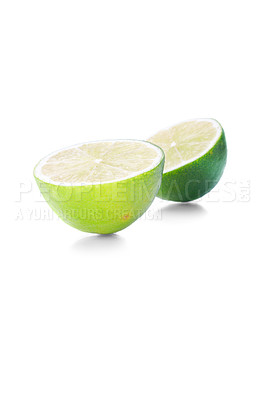 Buy stock photo Isolated lime fruits on white background. This picture is part of the series