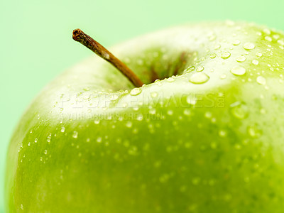 Buy stock photo Shoot of an isolated green apple
