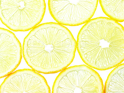 Buy stock photo Macro shot of several slices of lemon