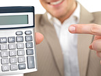 Businessman holding calculator