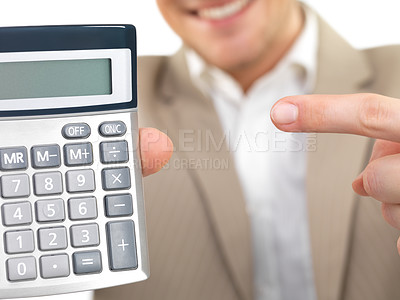 Buy stock photo Cheerful businessman holding calculator