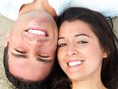 Buy stock photo Close up portrait of a happy young couple