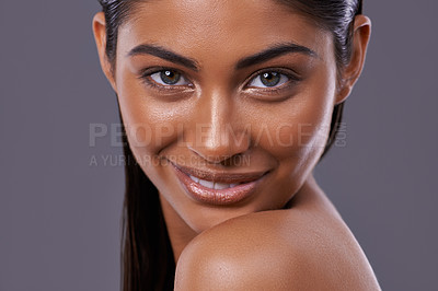 Buy stock photo Portrait of a beautiful young woman posing in the studio