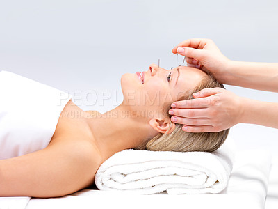 Buy stock photo Portrait of a  beautiful woman in acupuncture therapy at the day spa