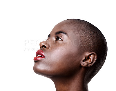 Buy stock photo Studio shot of a beautiful young african woman wearing red lipstick isolated on white