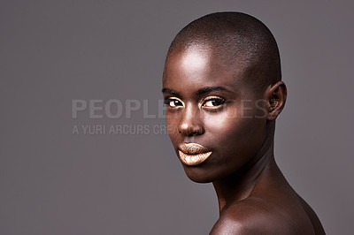 Buy stock photo Portrait of a beautiful african woman standing in studio