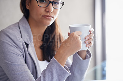 Buy stock photo Cropped portrait of an attractive businesswoman on a coffee break