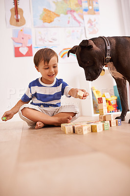 Buy stock photo A young boy playing with building blocks in his room while his dog watches