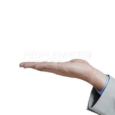 Buy stock photo Cropped shot of a businessman with his open palm raised into the air