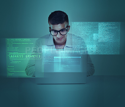 Buy stock photo Cropped view of a man sitting behind a computer screen.All screen content is designed by us and not copyrighted by others, and upon purchase a user license is granted to the purchaser. A property release can be obtained if needed.