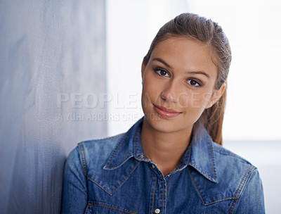 Buy stock photo Portrait of a young woman  leaning against a chalk board