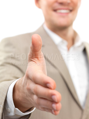 Buy stock photo Closeup of a successful businessman with an open hand ready to seal a deal