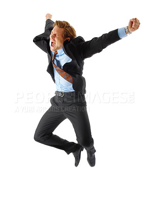 Buy stock photo One very happy energetic businessman jumping into the air.