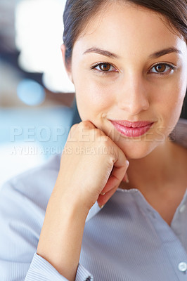 Buy stock photo Closeup of young businesswoman giving you warm smile