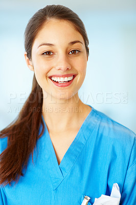 Buy stock photo Portrait of pretty young female doctor smiling