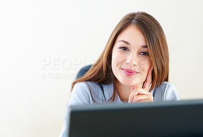 Buy stock photo Closeup of pretty business woman at work giving you an attractive smile
