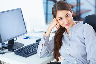 Buy stock photo Portrait of young business woman at work giving you beautiful smile