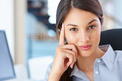 Buy stock photo Closeup of cute female executive sitting on chair