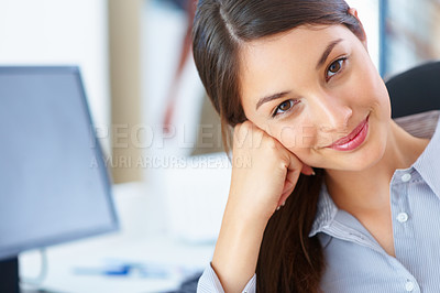 Buy stock photo Closeup of beautiful young business woman smiling
