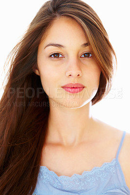 Buy stock photo Portrait of attractive young woman on white background