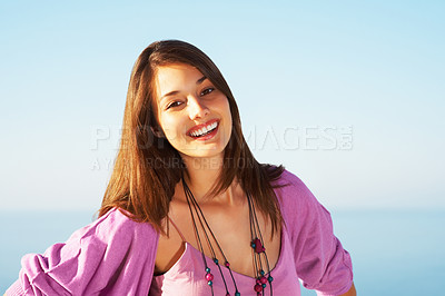 Buy stock photo Portrait of beautiful young woman smiling - copyspace