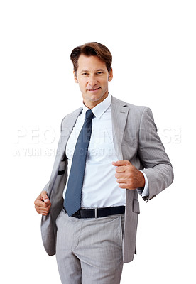 Buy stock photo Portrait of a confident young businessman standing against white background - Isolated