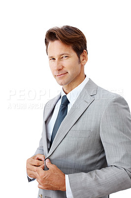 Buy stock photo Portrait of a confident young businessman standing isolated against white background