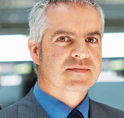 Buy stock photo Closeup of confident executive with serious look