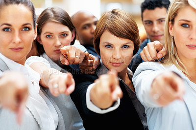 Buy stock photo Diverse group of executives all pointing at you