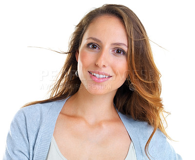 Buy stock photo Closeup portrait of a beautiful young woman looking at you against white background