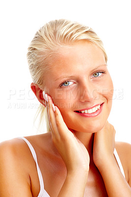 Buy stock photo Portrait of a happy young woman touching face , over white background