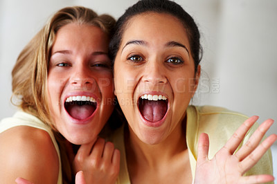 Buy stock photo Closeup portrait of an excited young women screaming together