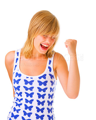 Buy stock photo One very happy woman flexing her biceps