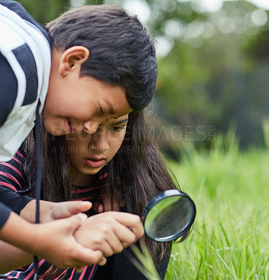 Buy stock photo Shot of a young brother and sister playing with a magnifying glass outside