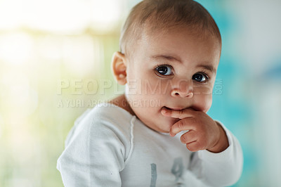 Buy stock photo Shot of an adorable baby boy at home
