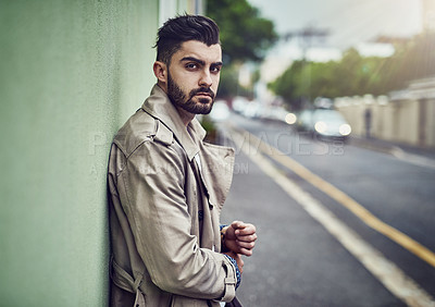 Buy stock photo Portrait of a fashionable young man wearing urban wear in the city