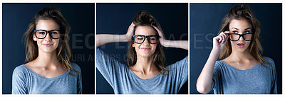 Buy stock photo Multiple image shot of a cute teenage girl posing against a dark background