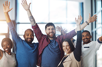 Buy stock photo Portrait of a group of young colleagues cheering at work