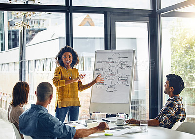 Buy stock photo Shot of a businesswoman giving a presentation to coworkers in a boardroom meeting